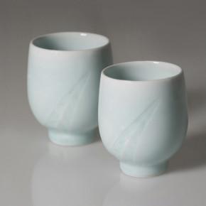 celadon tea cups Artist: Shigeki Kameda Large Dia: 7.5cm, Height: 9cm Small  Dia: 7cm, Height: 8.3cm Price: £30