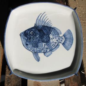 fish square dish 23 - 4 Artist: Michiko Nishioka 27cm x 27cm Price: £140