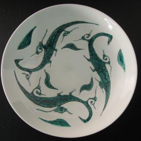 green birds dish 3 - 1 Artist: Shoji Kudo Dia: 40cm, H: 7cm Price: £300